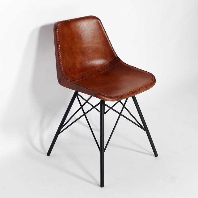 Chaise Design Cuir, Pieds Tour Eiffel  |  S102 MADE IN MEUBLES : prix, avis & notation, livraison.  Chaise original en cuir marron. Dimensions (HxLxP) : 78 x 46 x 50 cm.