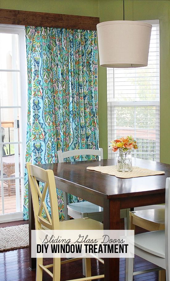 Diy Window Treatment For Sliding Gl Doors Amy Butler Fabric Turned Into Lined Curtains And Hung With Curtain Clips Tuto
