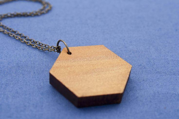 Reclaimed kauri hexagon necklace - $35