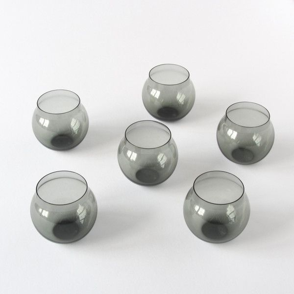 Timo Sarpaneva design for iitalia Finland smoke glass tumblers / shot glasses, set of 6.