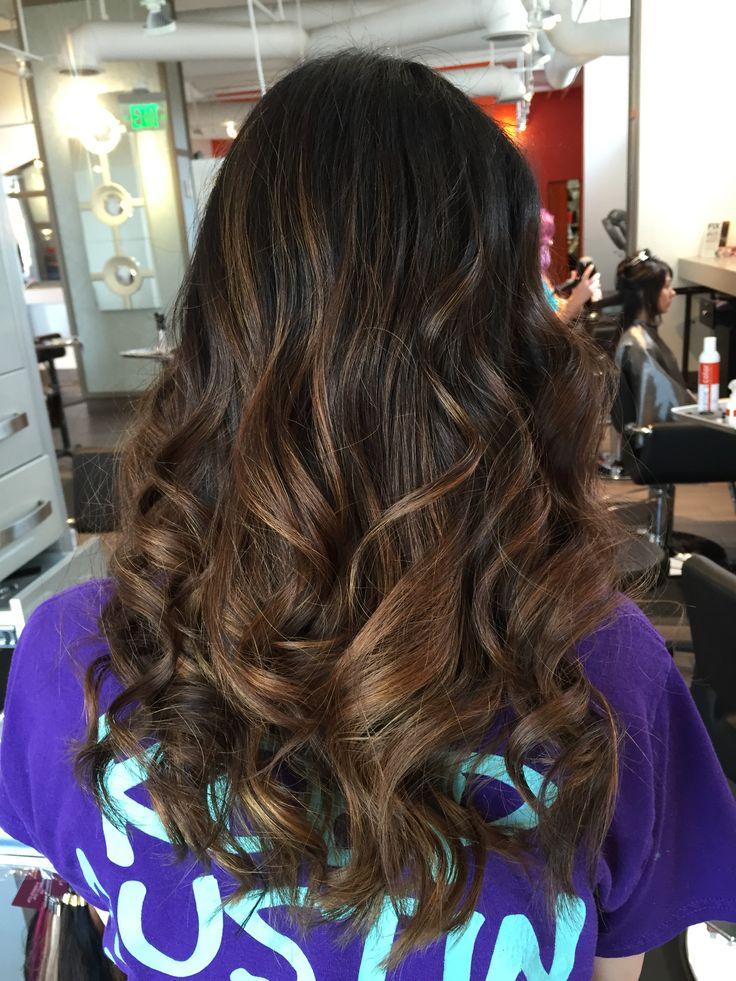 Asian black hair with brown Balayage highlights. My fresh new hair color! By Tara Hlavac in Dallas, TX. #haircolor #highlights #summercolor