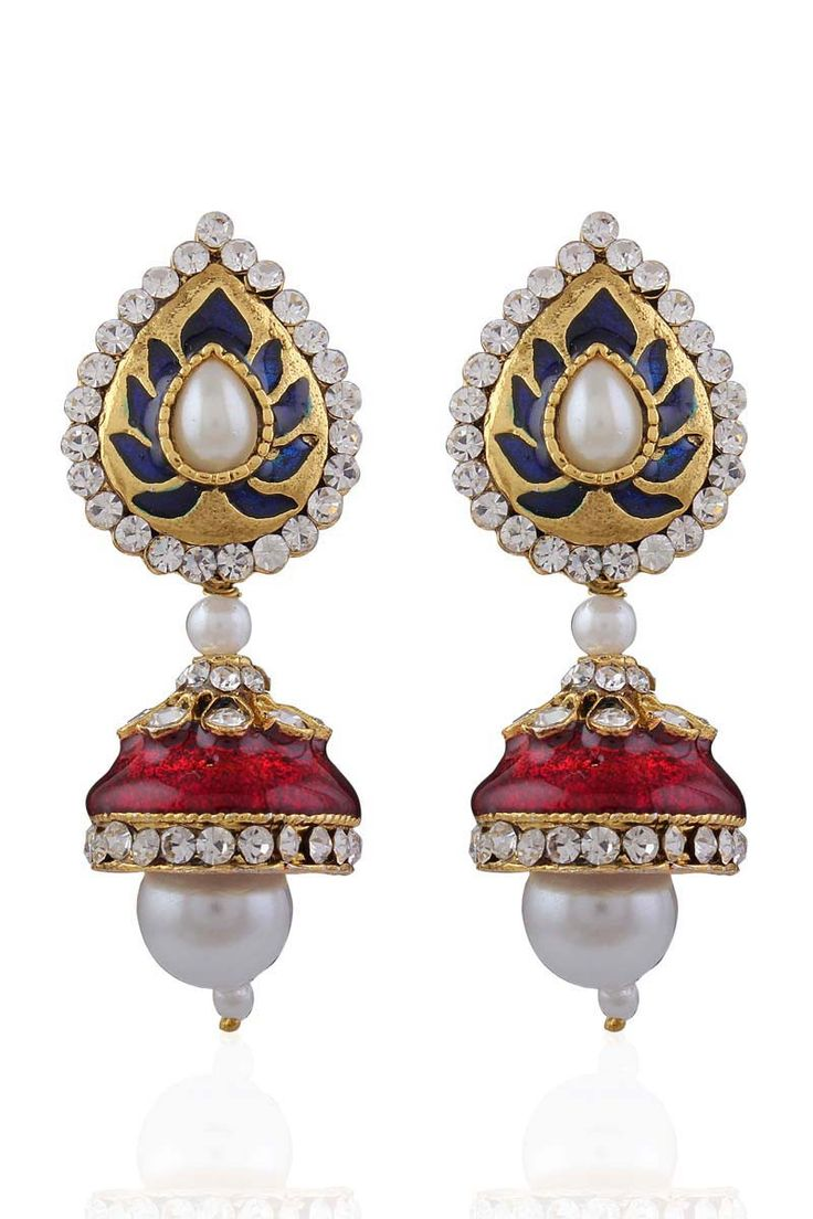 Description: Buy blue gold plated pearl earrings with best price at Variation. Huge collection of latest necklace sets, pendant sets, earrings, rings, bangles and Indian wedding jewellery sets in Indi
