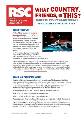 ROYAL SHAKESPEARE COMPANY Twelfth Night - Teacher's pack  11-16 years - English, drama. These resource packs have been written using the rehearsal room techniques for the particular production. The packs are often supported by information and video clips.