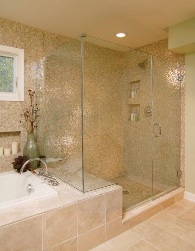 Bathroom idea- like the wall this is similar to what we have now, same shower tub set up just different tile