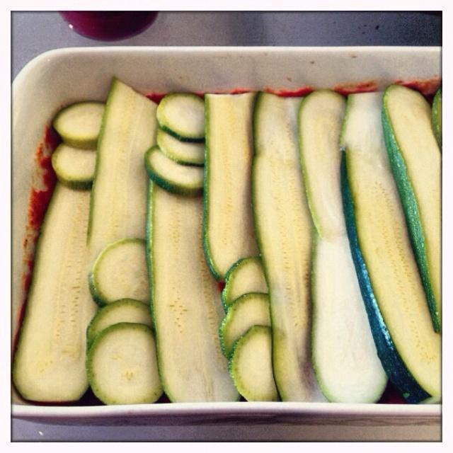 Making a no pasta lasagna ;) zucchini substitute ;)
