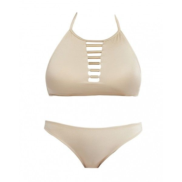Norma by Mk 2 Pieces Bikini With Golden Straps Style 90s ($263) ❤ liked on Polyvore featuring swimwear, bikinis, cream, beach swimwear, 2 piece swimwear, cut out bikini bottoms, 2 piece bikini and reversible bikini