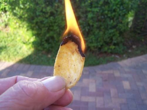 Corn chips (like Fritos or Doritos) make a great substitute kindling when starting a fire.-Camping Hacks