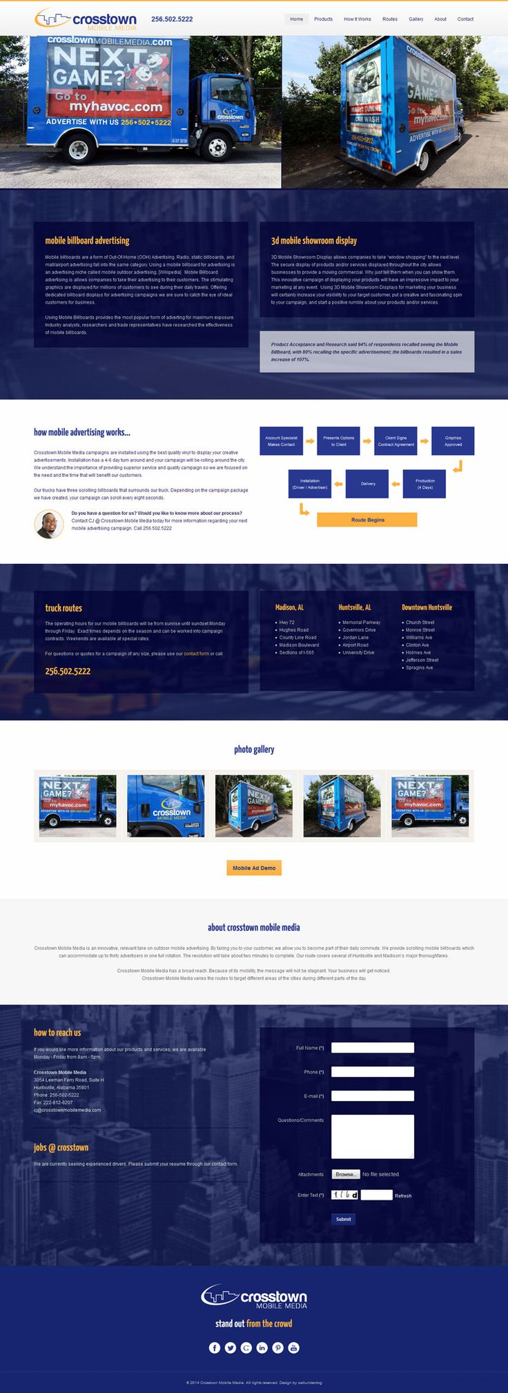 #Responsive One Page #webdesign with ScrollReveal.js effects and jump menu for Crosstown Mobile Media   (Huntsville, AL). Custom built on #Joomla 3 CMS. #webdesign #customdesign #onepage #modern #inspiration #creative #landingpage #template #theme #business #corporate #portfolio #agency