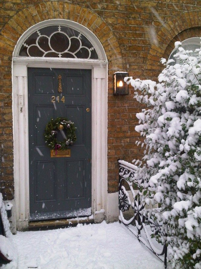 Christmas front door painted in Farrow and Ball Down pipe great color!