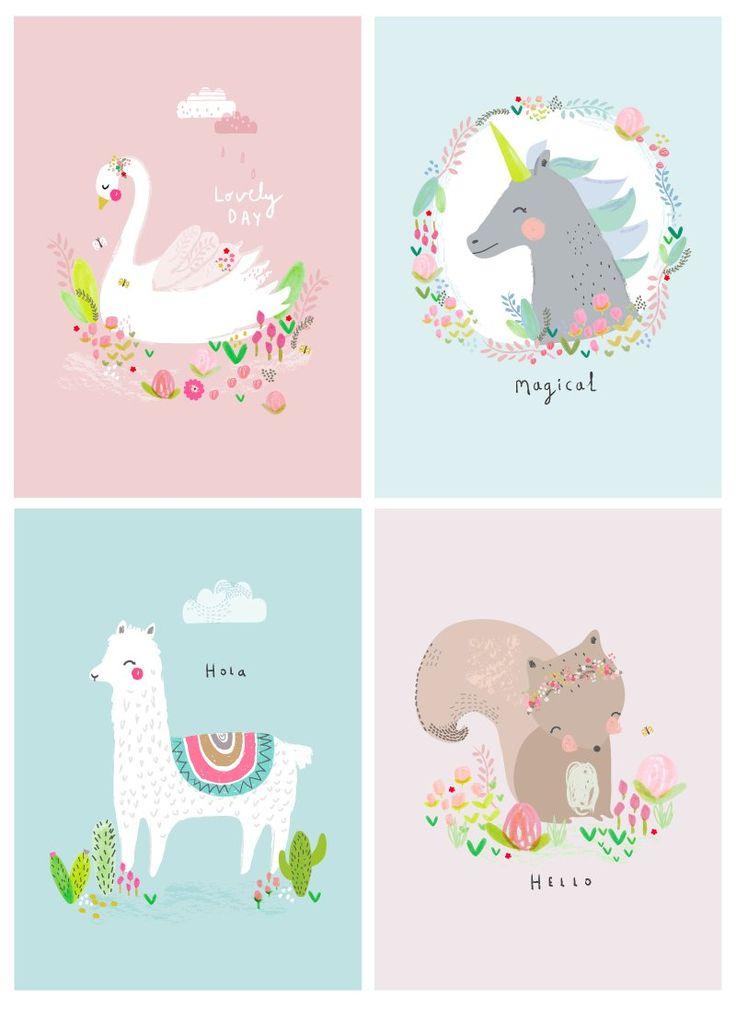 Hermosas ilustraciones infantiles en colores pastel <3