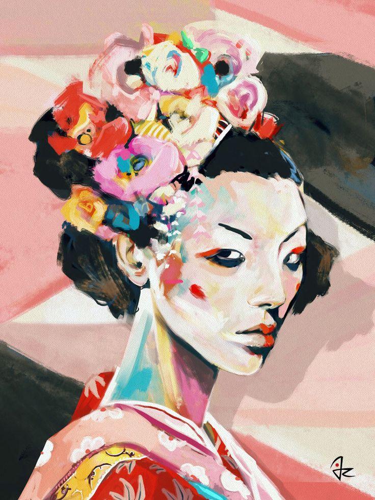 """Japan"" digital painting by Giulio Rossi"