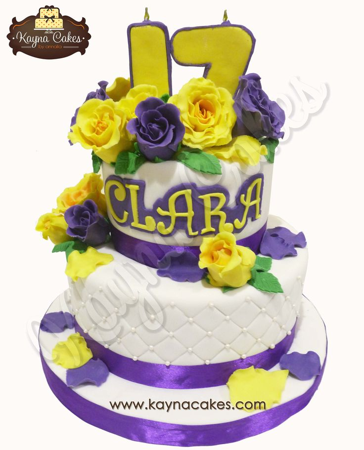 Purple and Yellow sweet 17th cake for Clara.