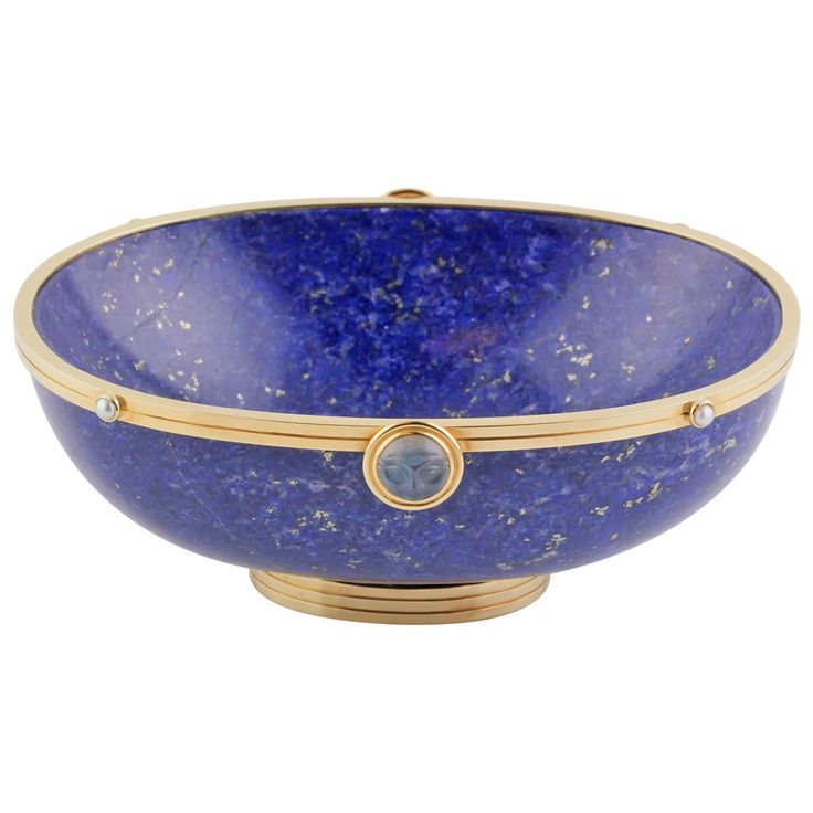 Silverhorn Lapis Seed Pearl Moonstone Gold Bowl | From a unique collection of vintage desk accessories at https://www.1stdibs.com/jewelry/objets-dart-vertu/desk-accessories/