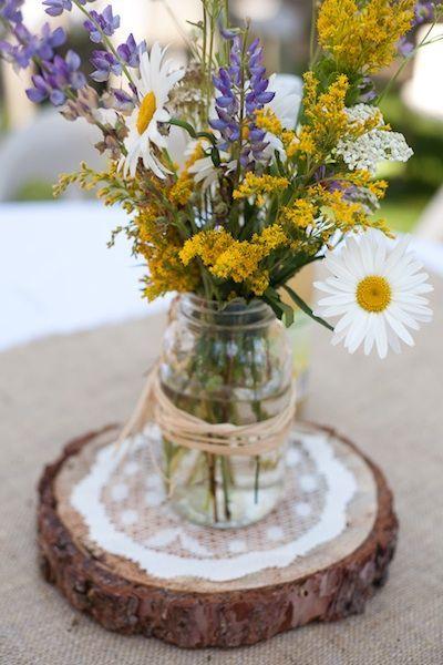 Boho Wildflowers Wedding Flowers in Mason Jar Wedding Centerpiece / http://www.deerpearlflowers.com/chamomile-daisies-wedding-ideas/