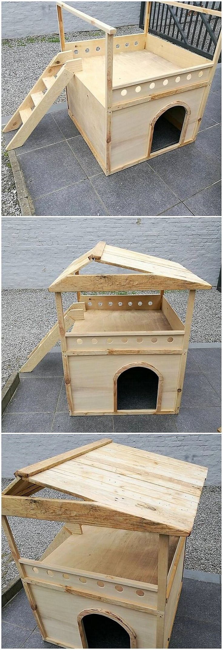 In this image we would highlight the idea of the wood pallet innovative pet house set which you will view in most of the house for the safety and relaxation of the pet animals. It is being beautifully designed in the hut shape of style where the top side of the project features the terrace portion.