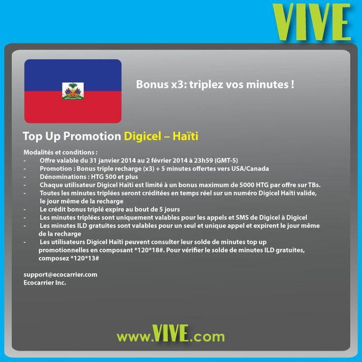 #Promo #VIVE: vos #recharges #mobiles vers #Digicel #Haiti sont triplées ! Offrez du #crédit #mobile à vos proches !  Rendez-vous sur www.vive.com