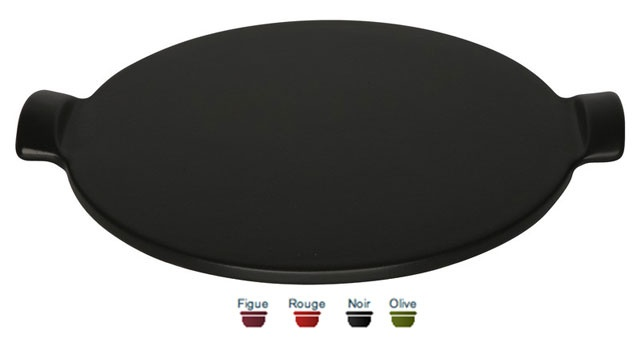 Large  Pizza stone (fig, red, black or olive). 36x36x3 cm. For 4 - 6 servings, this pizza stone allows you to cook, cut and serve your pizzas. Price: $49.99. To order call 905·885·9250. (Price subject to change without notice)