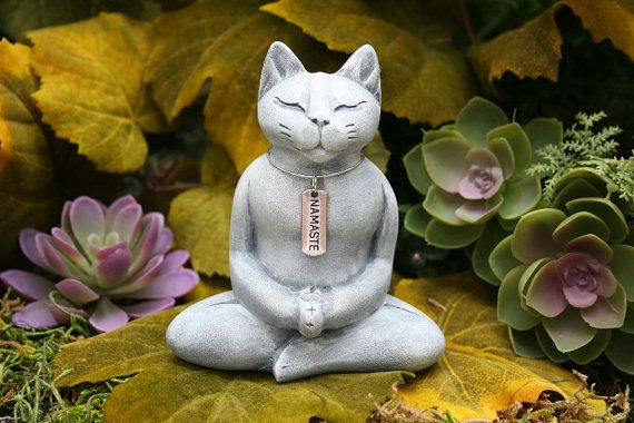 Buddha Cat Statue is READY TO SHIP Now - Meditating Zen Cat Statue with Namaste Necklace - Concrete Garden Art
