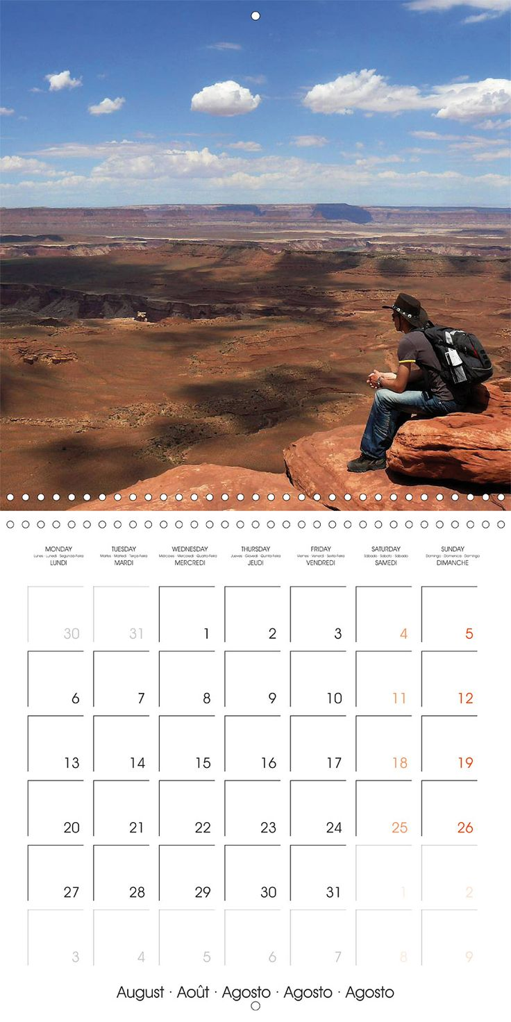"Reisekalender mit Planer ""Hiking on the Colorado Plateau"", Kalenderblatt August: Canyonlands, Grand View Point"