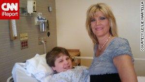 iReporter Leslie Martella and her son Garrett Buckelew, then 12, before his first trigeminal neuralgia surgery.