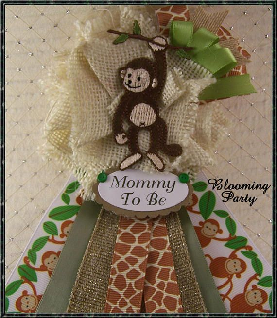 Monkey Mommy To Be Corsage Baby Shower Corsage Burlap Monkey