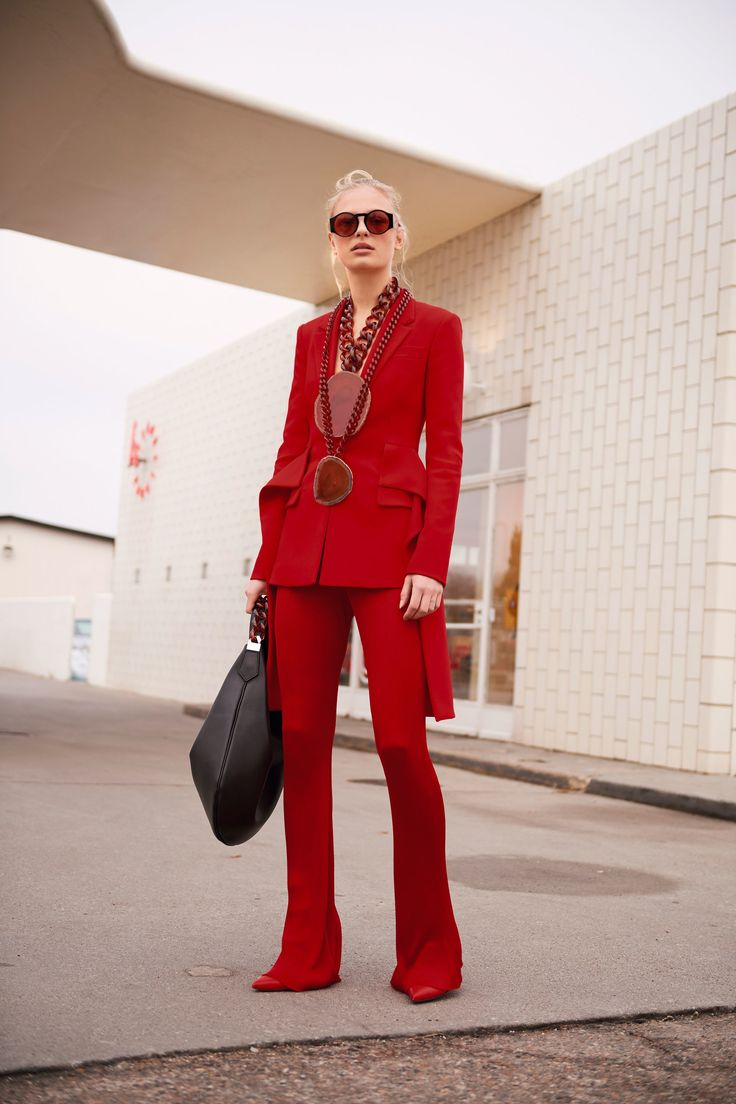 the full red suit-  hillary influence on fashion - See the complete Givenchy Pre-Fall 2017 collection.