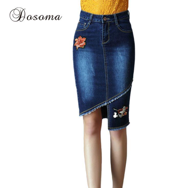 Plus Size 4XL Flower Embroidery Denim Skirt Female 2017 Ladies High Waist Long Skirts Womens Summer Bodycon Pencil Skirt Jeans