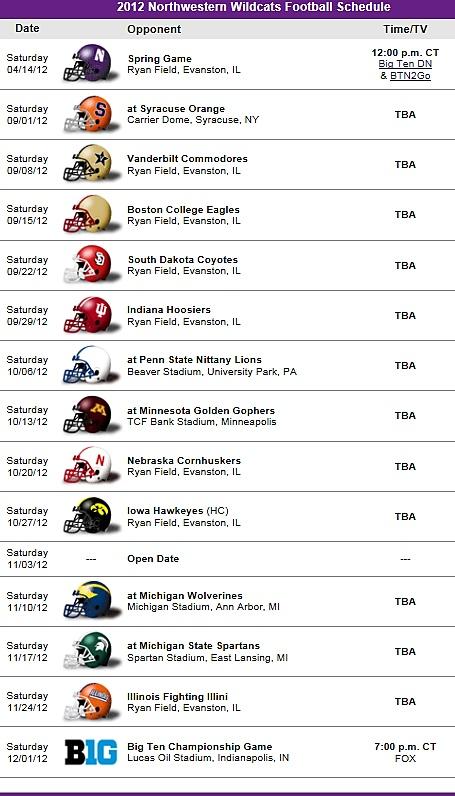 Northwestern Wildcats Football Team 2012 Schedule