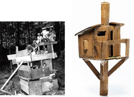 Built my cardboard model of the girls' tree house this morning.Tree House Plans - How to Build a Backyard Tree House - Popular Mechanics