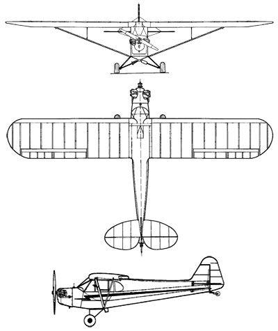 Three views of the Piper J3 Cub