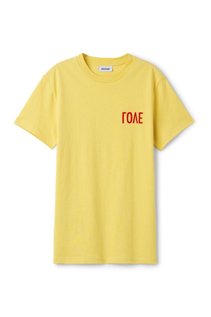 Weekday image 20 of Alan Love T-Shirt in Yellow Greenish Light