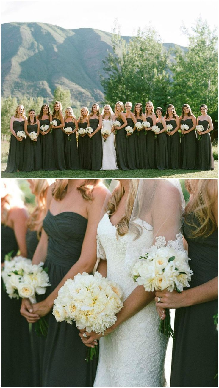Moss-green bridesmaids, long dresses, Aspen wedding, white bouquets // Laura Murray Photography