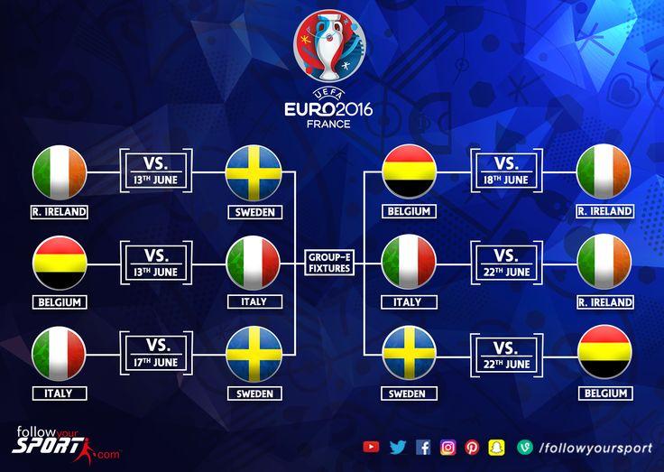 Euro 2016 GroupE #Fixtures #Euro2016 #Football #Soccer #Sweden #Belgium #Italy  #RepublicOfIreland