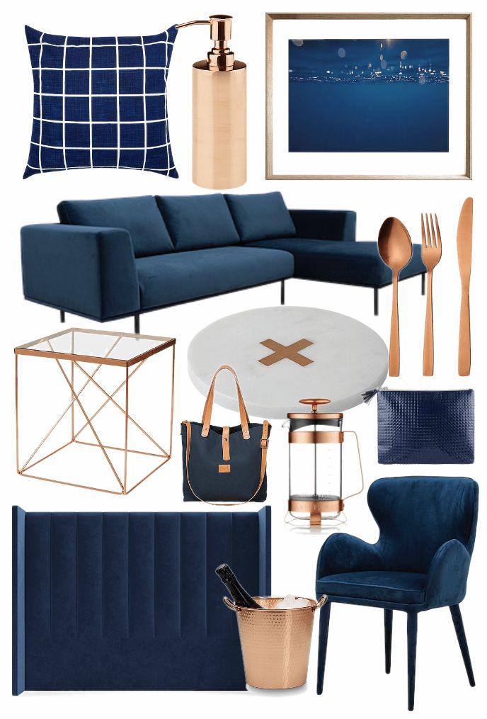 lovely copper blue living room   Best bits from the Navy and Copper Homewares Trend   Blue ...