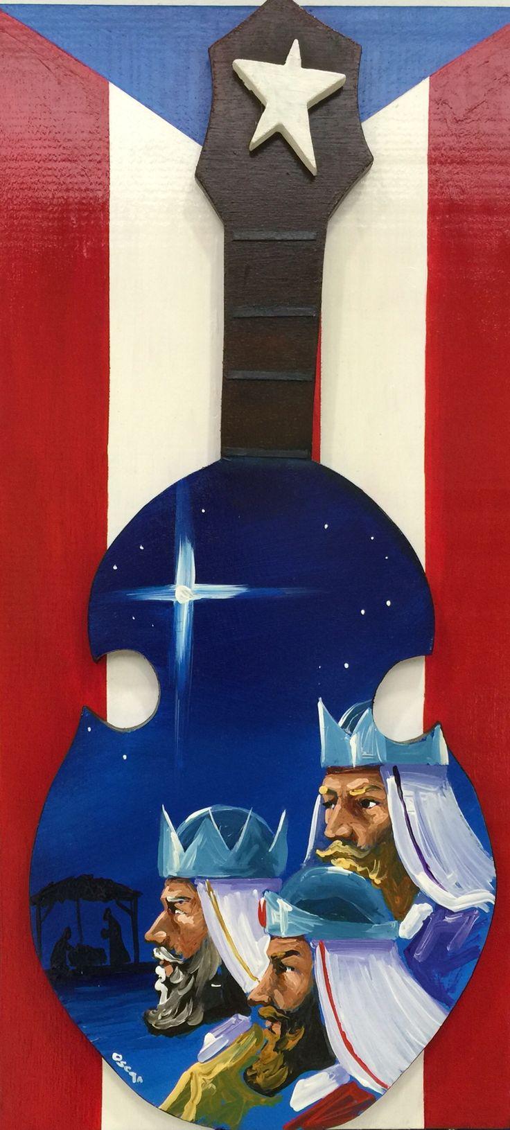 Artesanía de Puerto Rico, reyes magos sobre cuatro puertorriqueño y bandera de Puerto Rico al óleo sobre madera.