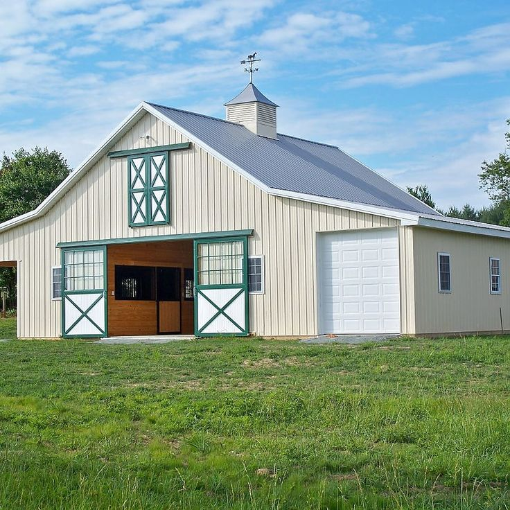 North east md horse barn with garage and lean to stables for Equestrian barn plans