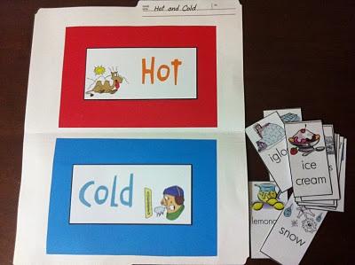 Hot Cold File folder game