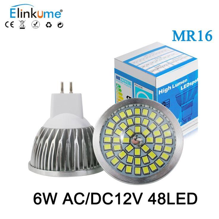 MR16 led 12V MR16 LED Spotlight 6W AC DC 12V Bombillas 48led SMD2835 Spot light Lampada Warm WhiteWhite led light