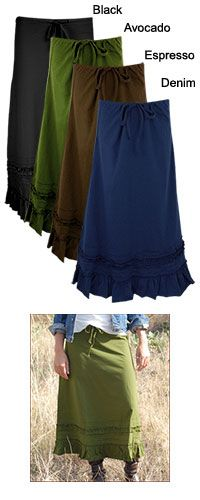 #Organic Long Drawstring Skirt from a company called Global Girlfriend that helps women world wide