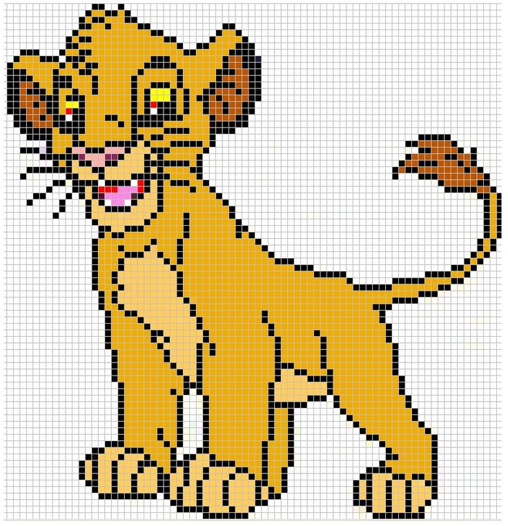 Simba cross-stitch. The lion king is my fav Disney movie and I named my cat Simba because of this movie :)