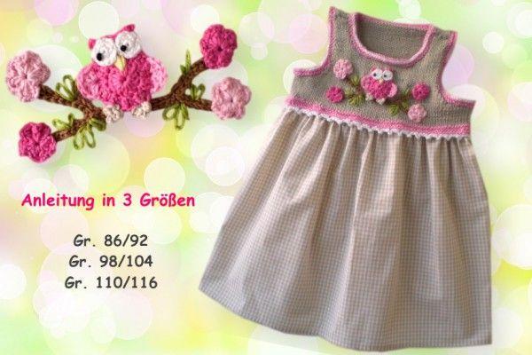Ein süßes Kleidchen für kleine Mädchen. Es kann bei kühleren Tagen auch mit einem T-Shirt getragen werden. Die Anleitung beschreibt das Stricken, Häkeln und Nähen für 3 verschiedene Größen und ist ausführlich beschrieben und bebildert. G