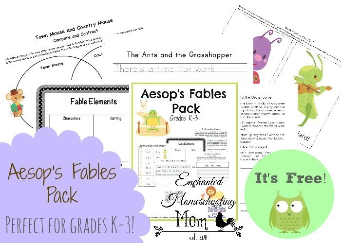 FREE Aesop's Fables Pack - Enchanted Homeschooling Mom #printable #fablesforkids