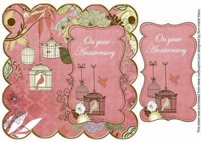 Pink Birdcage On Your Anniversary 8in Scallop Topper on Craftsuprint - Add To Basket!