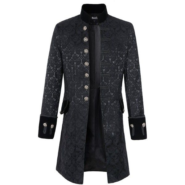 Mens Velvet Goth Steampunk Victorian Frock Coat (5.200 RUB) ❤ liked on Polyvore featuring men's fashion, men's clothing, men's outerwear, men's coats, mens victorian frock coat, mens frock coat, mens coats and mens gothic coat
