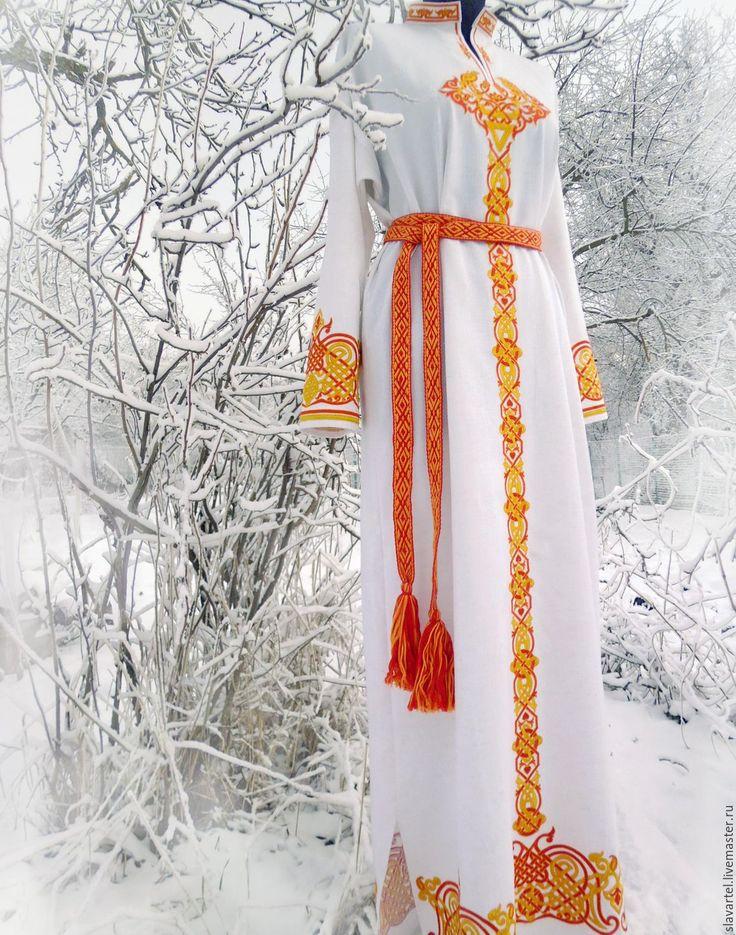 Купить Русское платье Велеслава - белый, русское платье, русский узор, древнерусский орнамент, велес