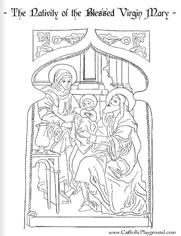 Nativity or Birth of the Blessed Virgin Mary with St. Ann and St. Joachim Catholic Coloring Page: Feast day is September 8th