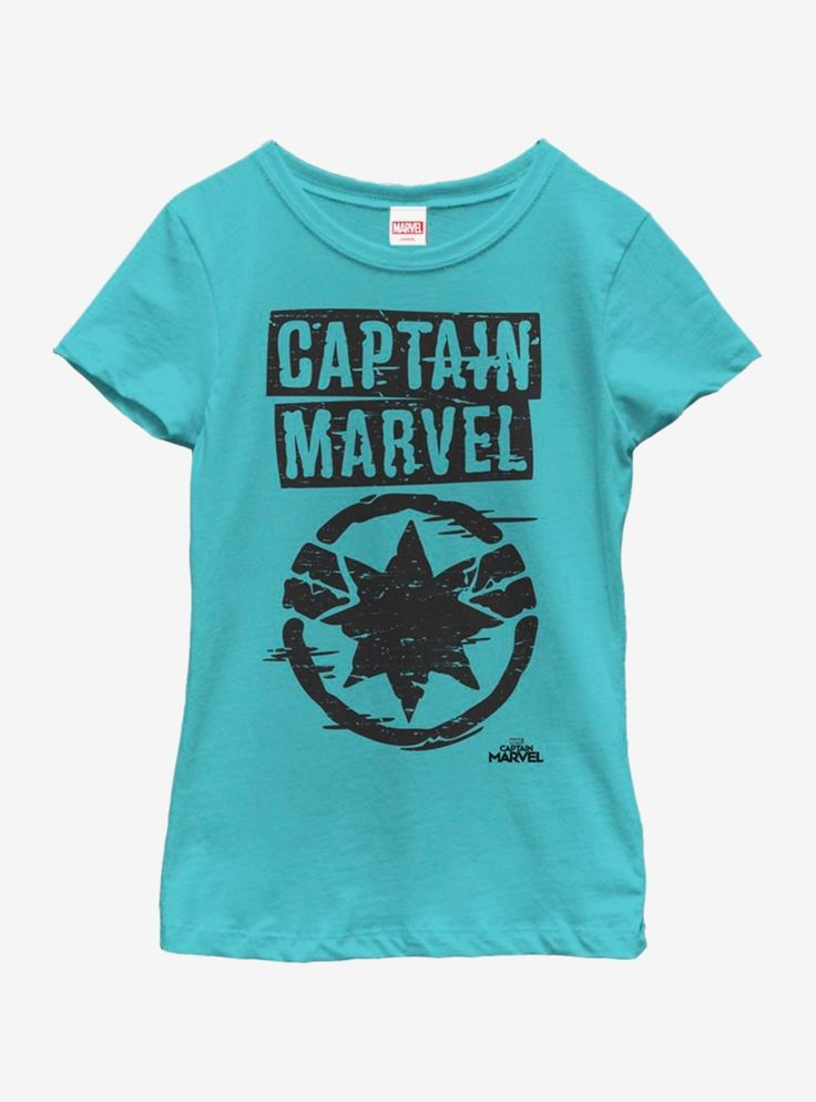 Marvel Captain Marvel Painted Logo Youth Girls T-Shirt – Products