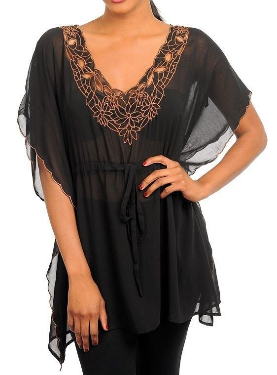Sexy Victorian Romantic Embroidered Sheer Drawstring Tie Tunic Blouse Top NEW #shopjaded #Blouse #Clubwear