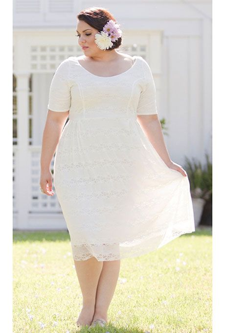 """Brides.com: 21 Stylish, Short Plus-Size Wedding Dresses """"Kara"""" lace dress in white, $99, Sealed with a Kiss Designs available SonsiPhoto: Courtesy of Sonsi"""
