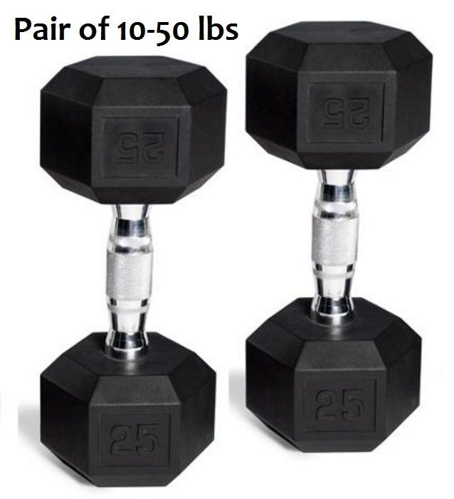 Rubber Coated Hex Dumbbells Set of 2 Dumbbell Set Pairs Black Training Weight  #CAPBarbell